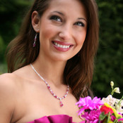 Crystal Lite Necklace shown in Sterling Silver Peony. Shown with Crystal Dangle Earrings in Sterling Silver Peony.