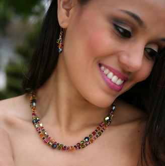 Double Necklace shown in 18K Gold Vermeil Gypsy. Shown with Crystal Cluster Earrings in 18K Gold Vermeil Gypsy.