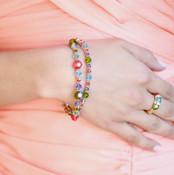 Double Bracelet shown in 18K Gold Vermeil Garden - Olivine, Tanzanite, Aquamarine & Padparadscha Swarovski crystals. Shown with Stretch Ring 18K Gold Vermeil Garden.
