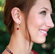 Single Crystal Earrings shown in Sterling Silver Siam (Red)