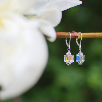Crystal Cube Earrings shown in Sterling Silver Clear