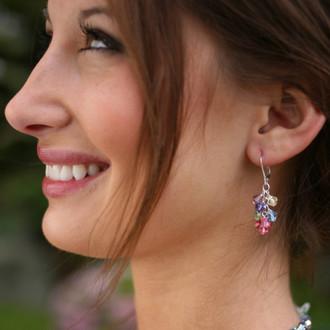 Cluster Earrings shown in Sterling Silver Pastel - Rose, Aquamarine, Peridot, Jonquil, Light Amethyst & Tanzanite Swarovski crystals.