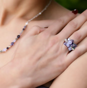 Cluster Ring shown in Sterling Silver Orchid. Shown with Crystal Lite Necklace in Orchid.