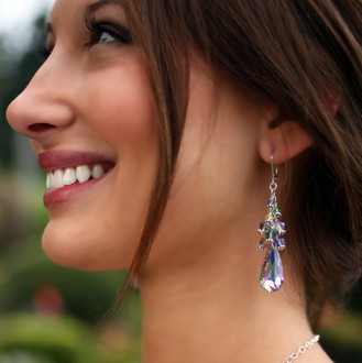 Teardrop Cluster Earrings shown in Glass Slipper