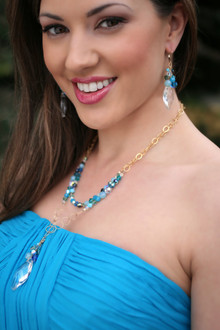 Ocean Navette Double Necklace in 18K Gold Vermeil shown with Ocean Navette Earrings.