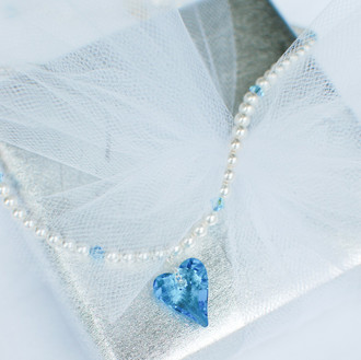 Flower Girl Heart Pearl Necklace in Aquamarine