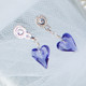Flower Girl Heart Post Earrings in Tanzanite