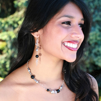 Chain Eclectic Earrings in Sterling Silver Black Tie. Shown with Chain Eclectic Necklace in Black Tie.
