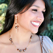 Chain Eclectic Necklace in 18k Gold Vermeil Sandy Beach. Shown with Chain Eclectic Earrings in Sandy Beach.