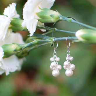Pearl Cluster Earrings in Sterling Silver White