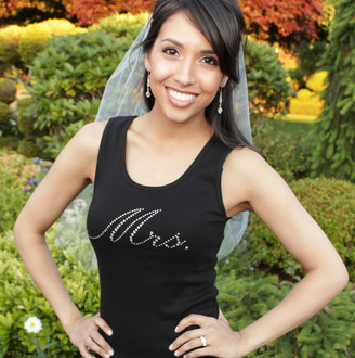 """Mrs"" Crystal Design in Clear AB on Tank Top in Black"