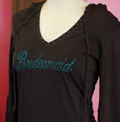 """Bridesmaid"" Script Crystal Design in Blue Zircon on Slub V Hoodie in Black with Crystal Trim"