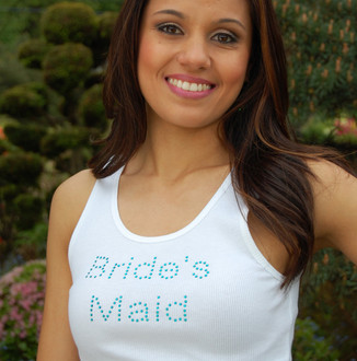 """Bride's maid"" Crystal Design in Blue Zircon on Tank Top in White"