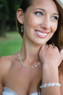 Channel Set Necklace in Silver Crystal (Clear) shown with the Channel Set Bracelet & Channel Set Brio Earrings