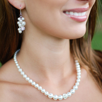 Petite Marilyn Necklace in Sterling Silver shown with the Marilyn Cluster Earrings