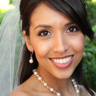 White Pearl Drop Earrings in 18k Gold Vermeil shown with the Pearl & Clear Necklace