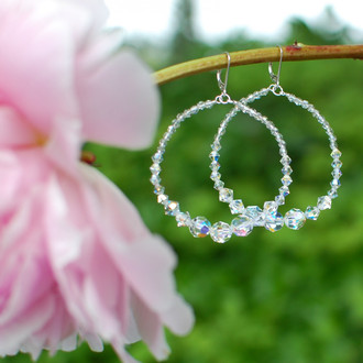 Clear Infinity Hoop Earrings