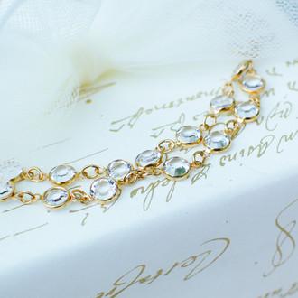 Channel Set Bracelet shown in Gold Crystal (Clear)