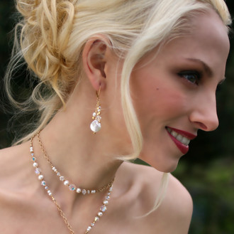 Coin Pearl Cluster Earrings shown in 18K Gold Vermeil. Shown the with Coin Pearl Lariat in 18K Gold Vermeil.