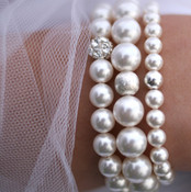 Pearl Stretch Bracelets shown in Sterling Silver 8mm with crystal pavé bead, 10mm & 6mm.