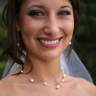 Jessica Necklace shown in Sterling Silver. Shown with the Pearl Dangle Earrings in Sterling Silver.