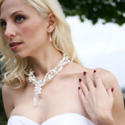 Elizabeth Necklace. Shown with Pearl Rondelle Earrings in Sterling Silver.