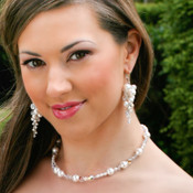 Couture Cluster Earrings shown in Sterling Silver. Shown with Monique Necklace.