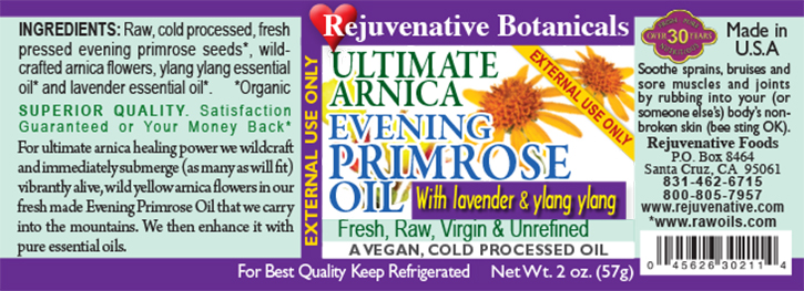 Fresh-Live Wild Arnica Virgin-Evening-Primrose-Oil Rejuvenative Foods label Infusion Raw Pure Certified-Organic except Wild Arnica-Flowers Low-Temp-Processed In-Amber-Glass for-Skin Ayurveda-Unrefined benefits-hair