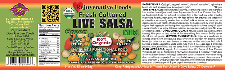 Fresh Organic label Pure Probiotic Cultured Raw Live Enzyme Green Salsa Tomatillos Fermented Vegetables In Glass lactobacillus acidophilus satisfaction guarantee