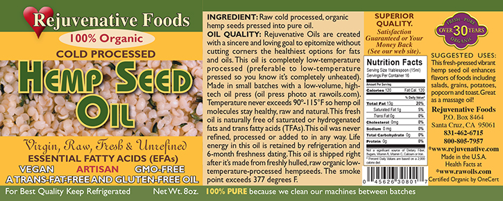 Fresh Pressed Raw  Hemp Seed Oil Organic label Pure glass jar Plastic free satisfaction guarantee cold processed,enhances salads,grains,potatoes