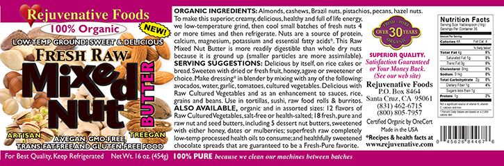 Fresh Raw Mixed Nut Butter Organic label Pure|glass jar|Low Temp|creamy smooth digestible|Plastic free||satisfaction guarantee|slow grind|maintain|live enzymes|