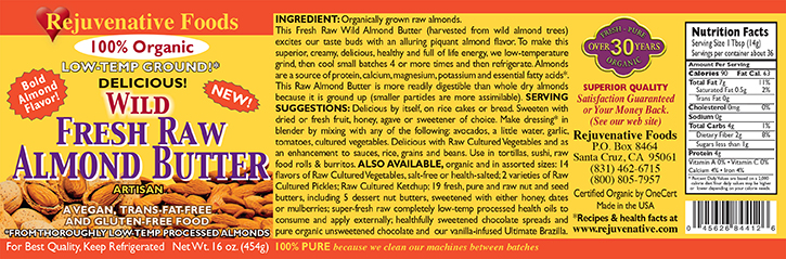 Fresh Raw Wild Almond Butter Organic label Pure|glass jar|Low Temp|creamy smooth digestible|Plastic free||satisfaction guarantee||wild harvested|