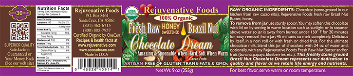 Stone Ground in our kitchen label Organic Pure Fresh Dairy Free Raw Brazil Nut Chocolate Dream Honey Sweetened GMO Free Antioxidants