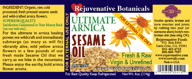 Wild Arnica Fresh Virgin Organic Sesame Oil Infusion Rejuvenative Foods Raw Pure Certified-Organic-except-wild-Arnica-Flowers label All-Low-Temp-Processed In-Amber-Glass for-Skin Ayurvedic-Unrefined Pain-Relief Skin-Moisturizer Massage sprain strain Hair bruise Rub Essential Healing Wildcrafted Nail external Herbal
