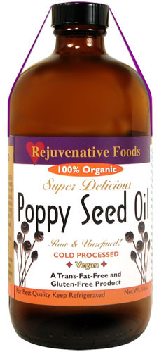 Extra-Virgin Fresh Raw Organic Poppy Seed Oil Pure Rejuvenative Foods  All-Low-Temp-Processed-Pressed-To-Order In-Amber-Glass Artisan-Ayurvedic