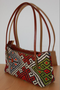 Kilim Shoulder Tote bag with Leather Handles and Trim
