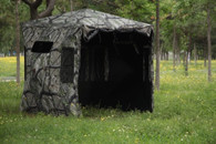This is a Large Door hub style blind - ideal for elderly or handicapped hunting. Design also allows for easily connecting multiple blinds to create double wide blind configuration for bigger hunting parties. Magnetic window closures for silent hunting.