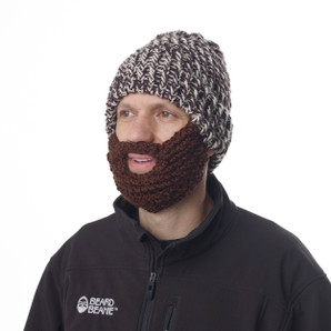 The Original Beard Beanie™  Brown and Ivory  100% Hand Made