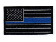 Police / Swat custom embroidered amercian flag with Blue Line