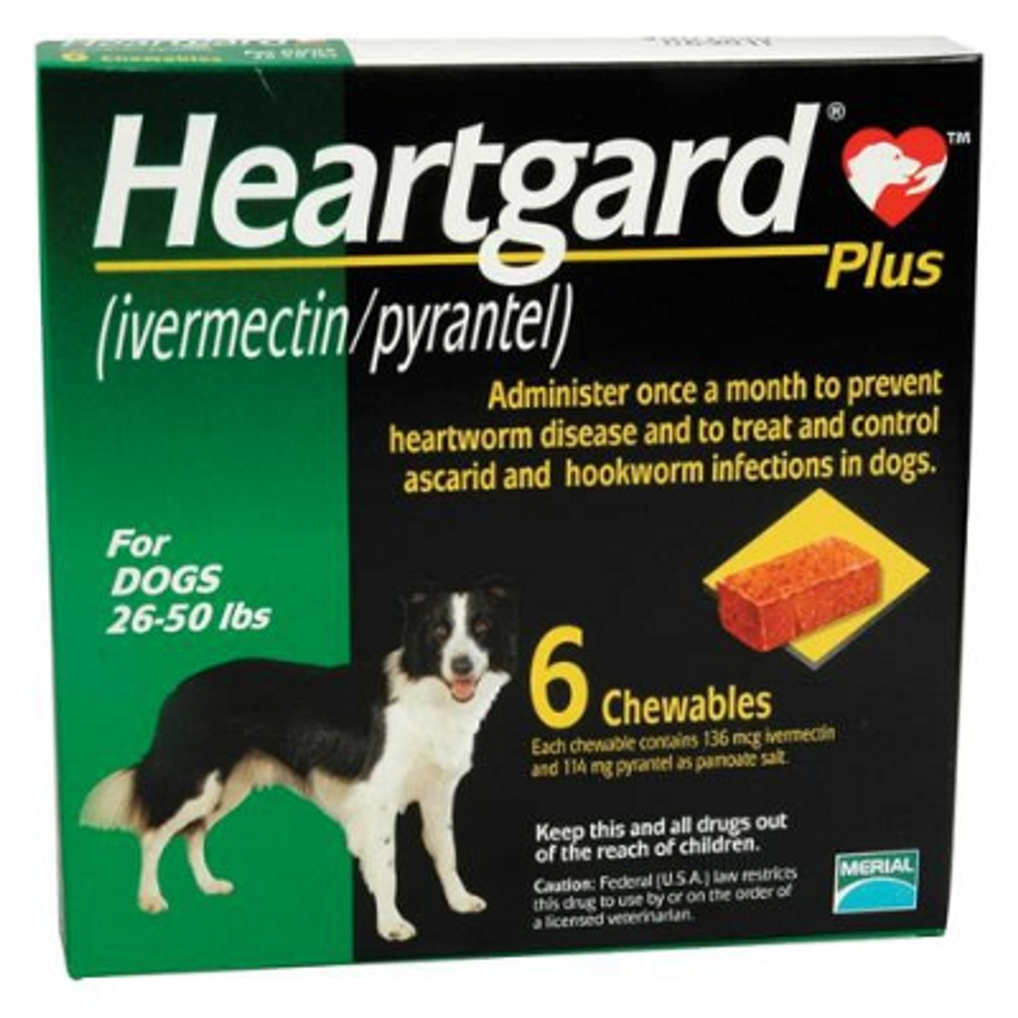 Heartgard Plus Chewables For Dogs 26 50 Lbs Green 6 Pack