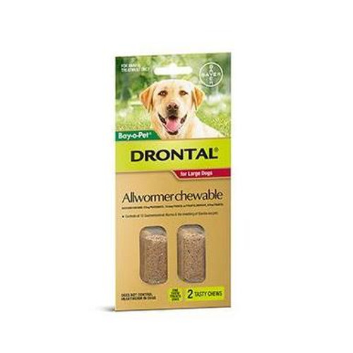 Drontal Allwormer Chewable for Dogs up to 77 lbs - 2 Pack