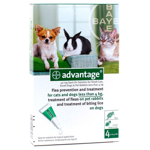 Advantage Green 4 Pack for Small Dogs & Cats up to 9 lbs