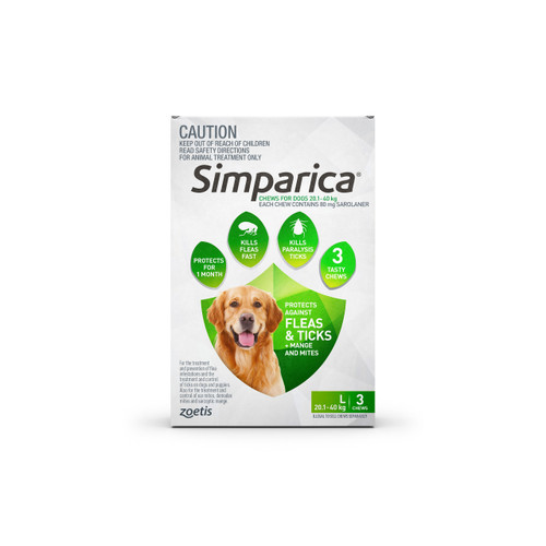 Simparica For Large Dogs 44-88lbs (20.1- 40kg) - 3 Chews