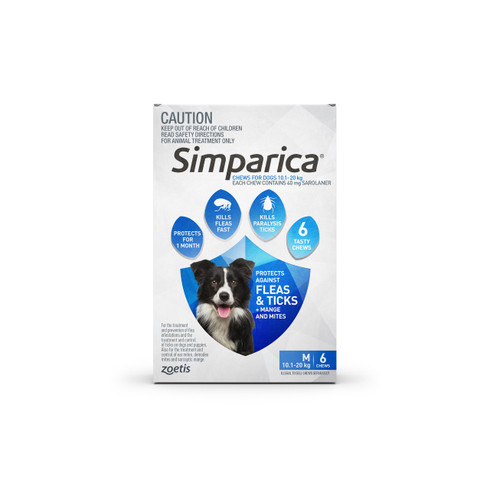 Simparica For Medium Dogs 22 44lbs 10 1 20kg 6 Chews