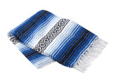 Cobalt Blue, Light Blue and White Heavy Weight Mexican Blanket