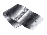 Charcoal, Silver and White Heavy Weight Mexican Blanket by La Montana