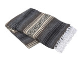 Dark Brown, Tan and Charcoal Heavy Weight Mexican Blanket