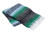 Kelly Green, Light Blue and Charcoal Heavy Weight La Montana Mexican Blanket