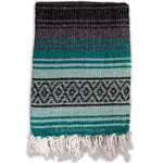 Turquoise Green, Mint Green and Charcoal La Montana Mexican Blanket