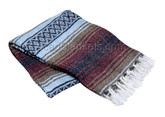 Light Blue, Mocha and Burgundy La Montana Mexican Blanket